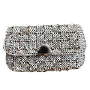 Vintage Silver Beaded Clutch Bag